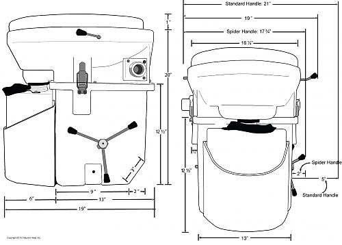 Nature's Head Composting Toilet Dimensions - Inches